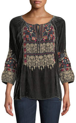 Johnny Was Claude 3/4-Sleeve Velvet Peasant Blouse w/ Embroidery