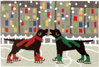 """Liora Manné Liora Manne' Front Porch Indoor/Outdoor Holiday Ice Dogs Multi 2'3"""" x 6' Runner Rug"""