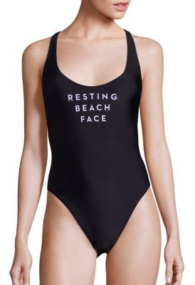 MILLY Rest Beach Face One-Piece Swimsuit $185 thestylecure.com
