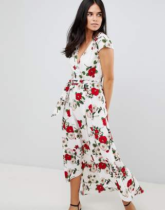 AX Paris Belted Hi Lo Floral Midi Dress