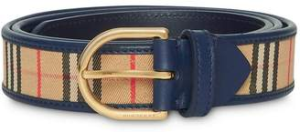 Burberry 1983 Check and Leather D-ring Belt