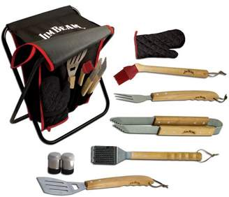 Jim Beam 9-Piece Tailgating Stool with Grilling Tool Set Includes Spatula with Bottle Opener, Tongs, Three Prong Fork, Grill Cleaning Brush, Salt and Pepper Shaker, Basting Brush and Mitt