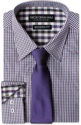 Nick Graham Men Modern Fitted Gingham Dress Shirt & Dot Tie Set