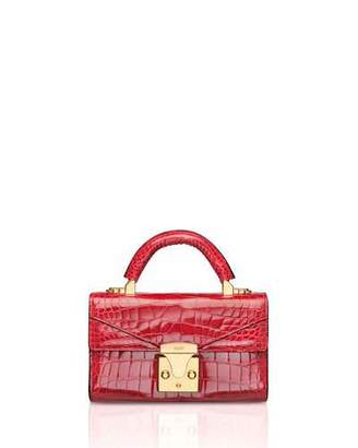 Stalvey Mini Crocodile Top Handle Bag, Red