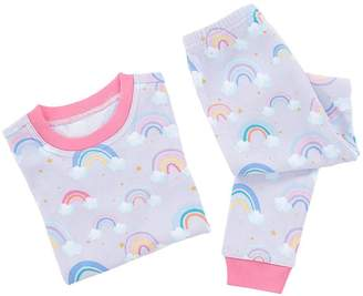 Pottery Barn Kids Rainbow Cotton Tight Fit Pajama, 3T