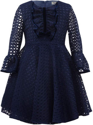 David Charles Basket-Weave Long-Sleeve Dress, Size 6-12