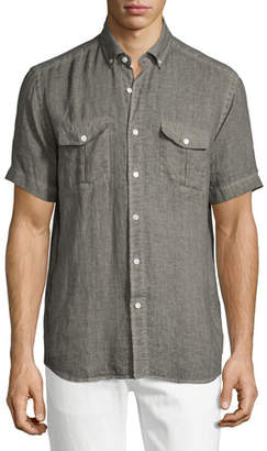Neiman Marcus Linen Short-Sleeve Shirt, Brown