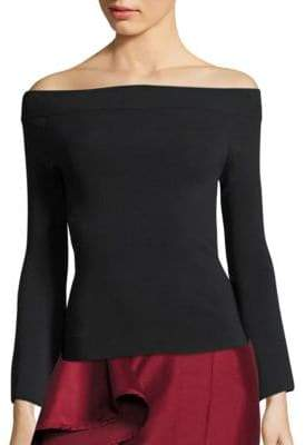 SOLACE London Fabia Off-The-Shoulder Bell-Sleeve Top