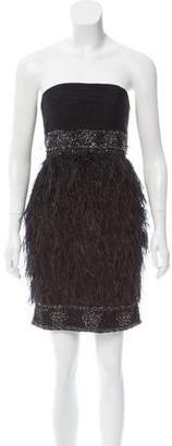Sue Wong Feather-Accented Embellished Dress