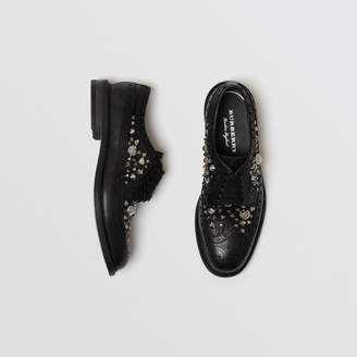 Burberry Stud Detail Leather Brogues , Size: 43, Black