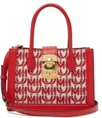 Miu Miu Madras Small Logo Jacquard Leather Trim Bag - Womens - Red White