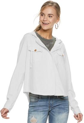 UNIONBAY Juniors' Linen Rayon Hooded light weight Jacket