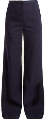 Diane von Furstenberg High Rise Wide Leg Crepe Trousers - Womens - Navy