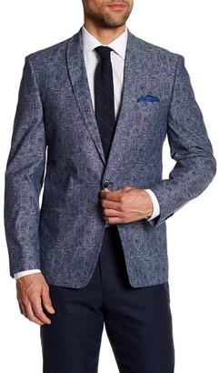 Ben Sherman Blue Paisley Single Button Shawl Lapel Cotton Sport Coat $300 thestylecure.com