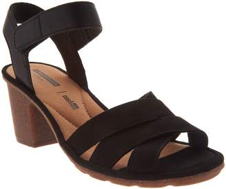 Clarks Leather Two-Piece Mid-Heel Sandals - Sashlin Jeneva
