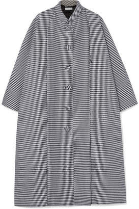 Balenciaga Oversized Houndstooth Wool And Silk-blend Crepe Coat - Gray
