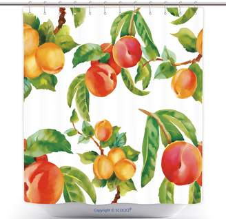 Vector vanfan Antibacterial Shower Curtains Watercolor Seamless Apricots And Peaches Pattern On White Background 206092504 Polyester Bathroom Shower Curtain Set With Hooks