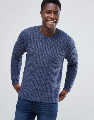 Asos Design DESIGN heavyweight fisherman rib sweater in navy