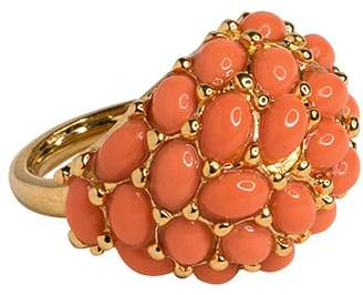 Kenneth Jay Lane Gold Light Coral Cab Ring
