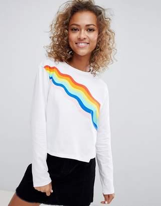 Asos Design Long Sleeve T-Shirt With Rainbow Print