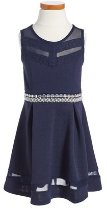Girl's Monteau Couture Embellished Fit & Flare Dress $38 thestylecure.com