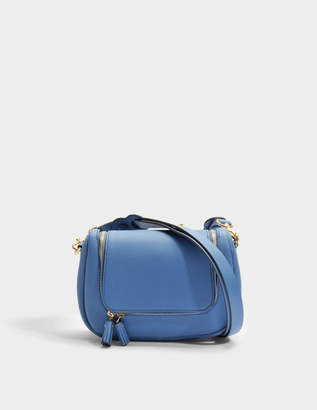 Anya Hindmarch Vere Small Soft Satchel Bag in Periwinkle Mini Grained Leather