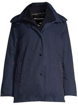 Jane Post Women's Loro Piana Cashmere Mandarin Three-In-One Double Rain Coat - Navy - Size Medium