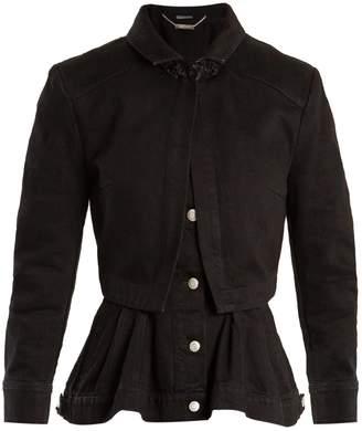 Alexander McQueen High-neck peplum-hem denim jacket