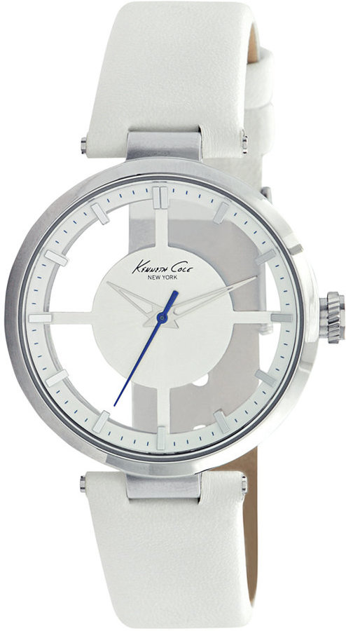 Kenneth Cole New York Watch, Women's White Leather Strap KC2609