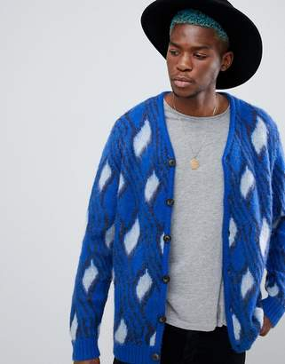 Asos Fluffy Cardigan With Mohair Wool Blend In Bright Blue