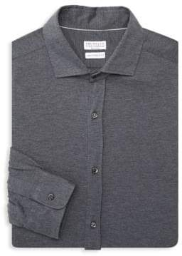 Brunello Cucinelli Heathered Leisure-Fit Shirt