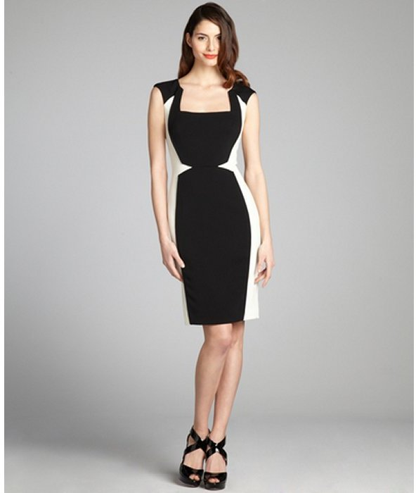 Jay Godfrey black and white 'Kornell' colorblock dress
