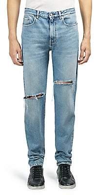 Saint Laurent Men's Light-Wash Slim-Fit Ripped Jeans