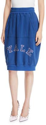 Calvin Klein Yale-Logo High-Waist Cotton Terry Bubble Skirt