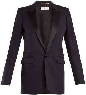 Saint Laurent Single-breasted wool grain de poudre blazer