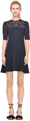 Rebecca Taylor Crepe & Corded Lace Dress