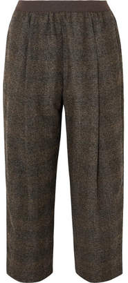 Agnona Cropped Checked Tweed Straight-leg Pants - Dark green