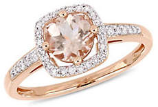 CONCERTO 10K Rose Gold and Morganite Halo Birthstone Ring with 0.14 TCW Diamond