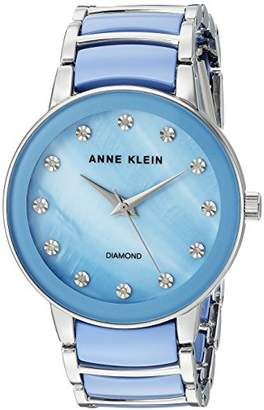 Anne Klein Women's AK/2673LBSV Diamond-Accented Silver-Tone and Light Blue Ceramic Bracelet Watch