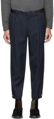 Kolor Navy Twill Press-Stud Dress Trousers