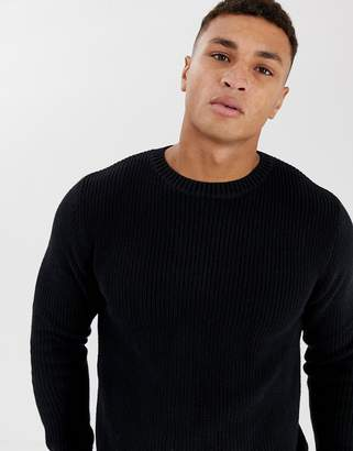 Pull&Bear ribbed sweater in black