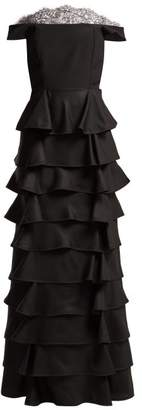 Emilio De La Morena Diana Off The Shoulder Tiered Silk Gown - Womens - Black