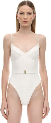 Onia X Weworewhat DANIELLE EYELET LACE ONE PIECE SWIMSUIT