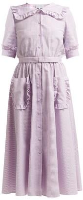 Luisa Beccaria Sailor Collar Gingham Cotton Blend Dress - Womens - Burgundy