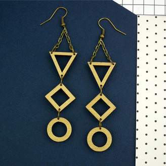 Red Paper House Gold Geometric Drop Earrings