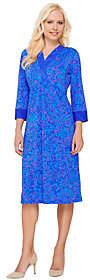 Bob Mackie Bob Mackie's 3/4 Sleeve Batik Printed Dress w/Contrast Trim