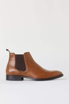 H&M Leather Chelsea Boots - Beige