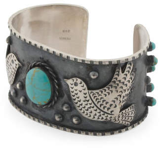 Handcrafted In Mexico Sterling Silver Turquoise Navajo Cuff
