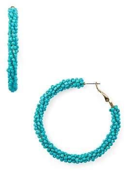Aqua Beaded Hoop Earrings - 100% Exclusive