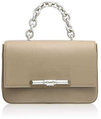Amanda Wakeley Redford Linen Beige Leather Shoulder Bag